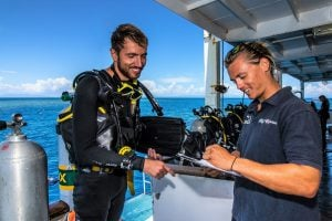 Cairns Nitrox Certification Dive Course. Reef Encounter Liveaboard Boat Australia