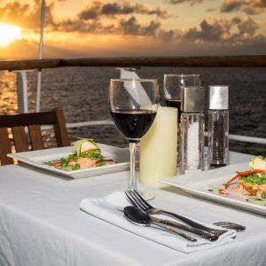 Chef prepared gourmet meal on the Top Deck