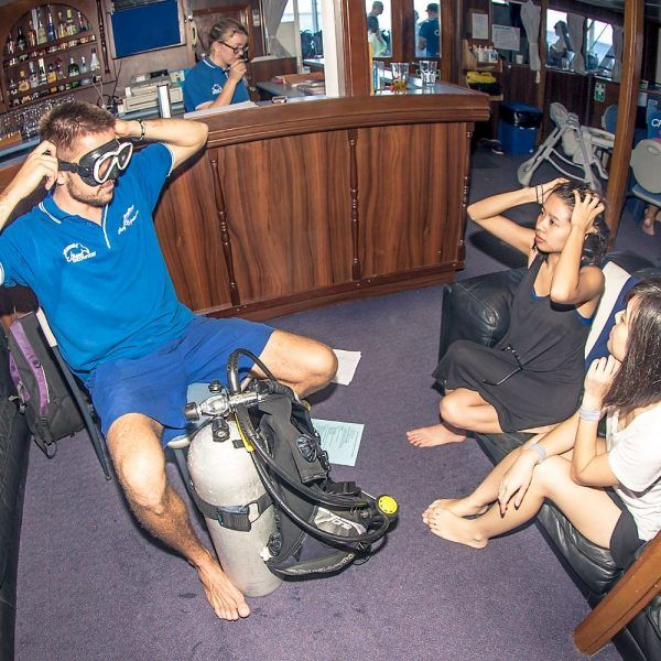 Diving instructor giving presentation